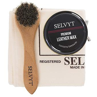 Selvyt Cloth, Wax Polish with Beeswax and Applicator Brush Set -Blue Navy
