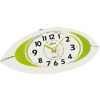 Atlanta 1939/6 ceas cu alarmă cuarț analog alb verde liniște fără bifarea cu lumina snooze