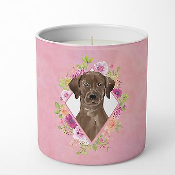 Chocolate Labrador Pink Flowers 10 oz Decorative Soy Candle