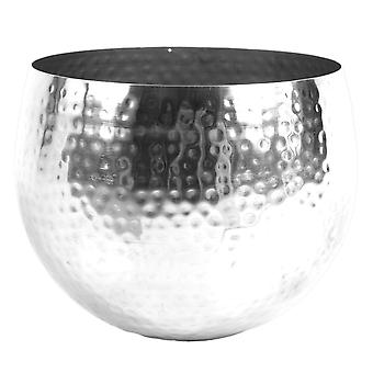 Leaf Large Metal Planter 22 x 18cm Hammered Silver Colour - Straight Edge