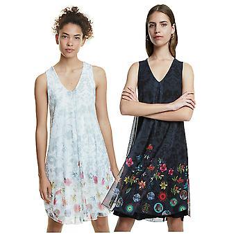 Desigual Carnagy Kleid Floral Print Floaty schiere Doppelschicht