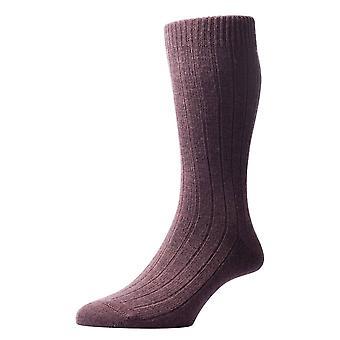 Pantherella Packington Rib Merino wollen sokken - donker bruin Mix