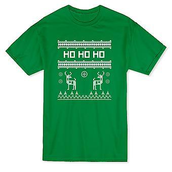 Ho Ho Ho los copos de nieve Navidad patrones renos pino camiseta árboles hombres