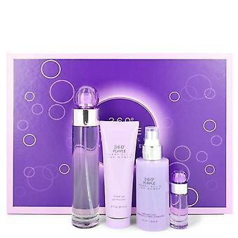 Perry Ellis 360 Purple Gift Set By Perry Ellis 3.4 oz Eau De Parfum Spray + .25 oz Mini EDP Spray + 4 oz Body Mist Spray + 3 oz Shower Gel