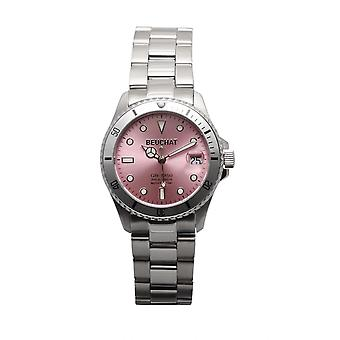 Beuchat Watch BEU1955-4 - Dateur Unidirectional Bezel 20 ATM Steel Silver Dial Rose Women