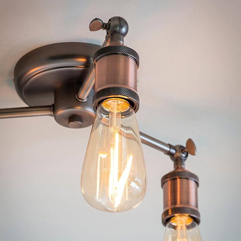 Endon Lighting Hal Trio Copper And Pewter Semi Flush Ceiling Light