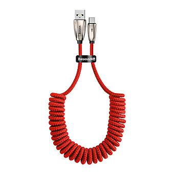 Baseus USB C Curled Spiral Charging Cable Data Cable 1 Meter Red Charger