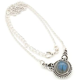 Labradorite Necklace 925 Sterling Silver Necklace Necklace Blue Green (MCO 10-05)