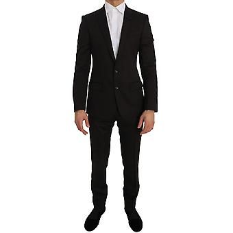 Dolce & Gabbana Brown Wool Crystal Bee Slim Fit MARTINI