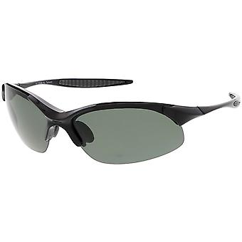 Sports TR-90 Semi-Rimless Wrap Sunglasses Slim Arms Polarized Lens 69mm