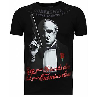 Godfather - Rhinestone T-shirt - Zwart