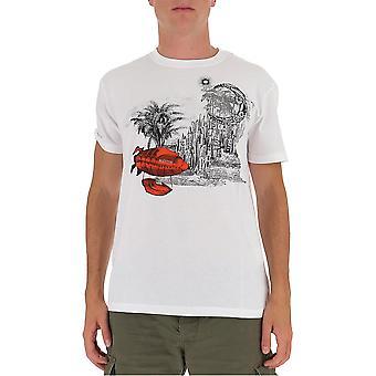 Valentino Uv3mg07m6hua7d Männer's weiße Baumwolle T-shirt