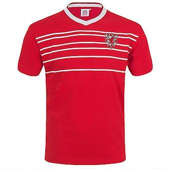 Pays de Galles Cymru FAW Cadeau officiel Mens Retro 1976 / 1984 Football Kit Shirt Rouge