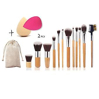 Set di 12 spazzole make-up, 2 spugne