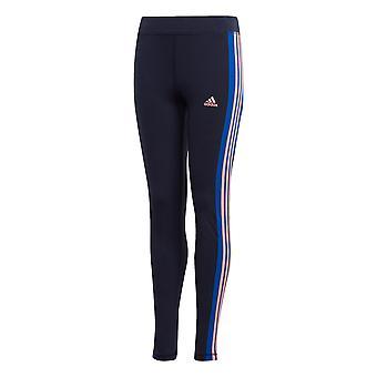 adidas 3-Stripes Youth Girls Kids Sports Legging Tight Pant Navy Blue/Pink