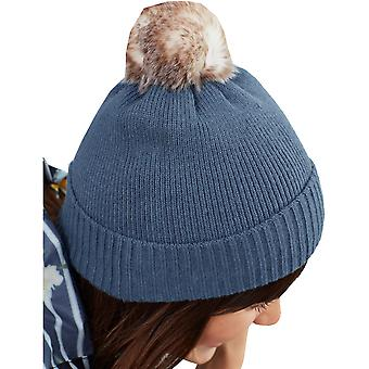 Joules Womens Snowday Supersoft Knitted PomPom Beanie Hat