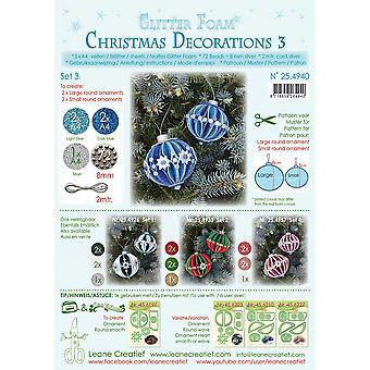 Leane Creatief Glitter Foam Christmas Decorations A4 Set 3