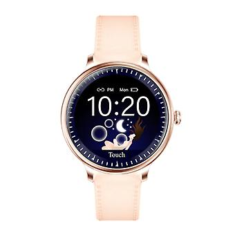 Rundoing NY12 Luxury Smartwatch Watch Fitness Activity Tracker iOS Android - Pink Leather