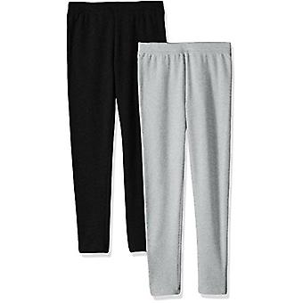 Essentials Big Girls' 2-Pack Cozy Leggings, Black/Heather Grey, Large