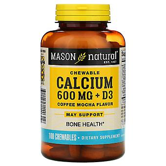 Mason Natural, Chewable Calcium + D3, Coffee Mocha Flavor, 600 mg, 100 Chewables