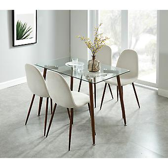 Aaliyah/Gemma 5Pc Dining Set - Table en noyer/Chaise grise