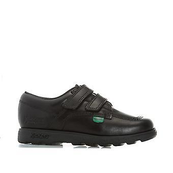 Boy''s Kickers Childrens Fragma Lo Strap Leather Shoes em preto