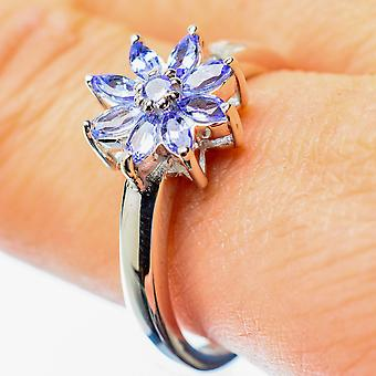 Faceted Tanzanite Ring Size 10 (925 Sterling Silver)  - Handmade Boho Vintage Jewelry RING25750