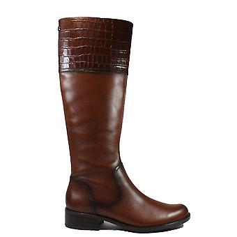 Caprice 25525 bruin lederen Womens zip omhoog lange been laarzen