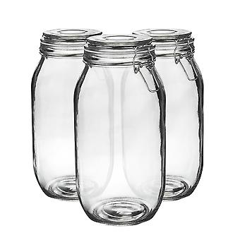 Argon Tableware Glass Storage Jars with Airtight Clip Lid - 2 Litre Set - White Seal - Pack of 6