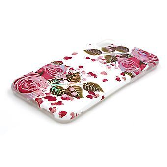 Carcasa de iPhone X/XS con soporte blanco/rosa