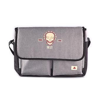 Sony PS Biker Skull with Puff Print Messenger Bag Unisex Black/Grey MB470815SNY