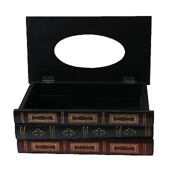Caja de tejido de estilo retro marrón madera en forma de libro Napkin Container Case