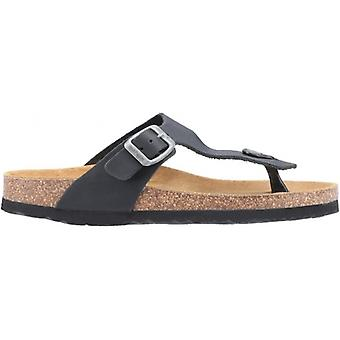 Hush Puppies Kayla Ladies Leather Toe Post Sandals Black