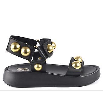 Černý popel Vlilcan kožené sandály s Maxi hřeby gold