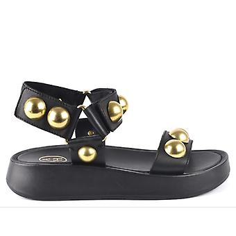 Sandalias de cuero negro Ash Vlilcan con Maxi Studs Gold