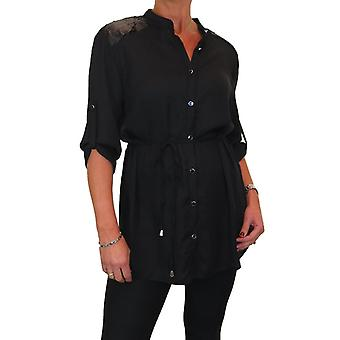 Women's Long Sleeve Button Down Tunic Blouse Ladies Fine Soft Feel Shirt Top 8-16