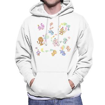 Care Bears Love Heart Montage Mænd's Hooded Sweatshirt