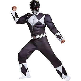 Men & apos;s Black Ranger Klassiska Muskel kostym - Mighty Morphin