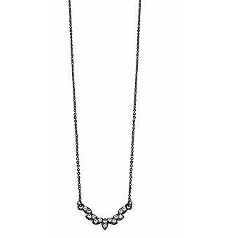 Fiorelli moda Gunmetal plateado cristal transparente bonito collar 42cm + 5cm
