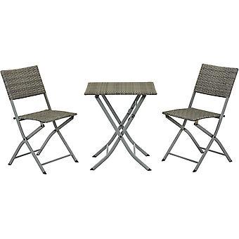 Comedor/Salón de jardín en resina trenzada Melbourne - 1 mesa + 2 sillas