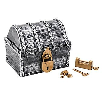 Pirate Treasure Chest Box med 2 lås, party gynnar Barn leksak,