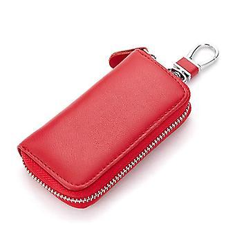עור אמיתי ארנק מפתח, גברים ונשים תיק מפתחות מכונית רב פונקציות מחזיק מפתחות