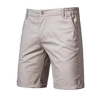 Cotton Solid Shorts, Men Casual Business Social Elastic Waist Beach Short