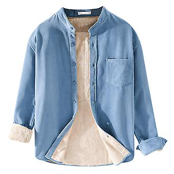 YANGFAN Men's Plus Fleece Solid Color Shirt