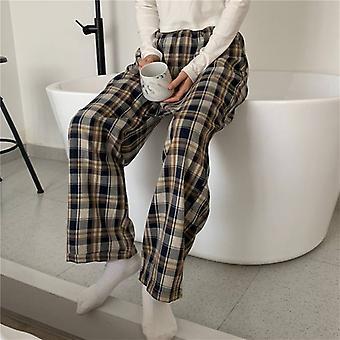 Women Homewear Plaid Ankle Length Pajamas Wide-leg Comfortable Elastic Vintage