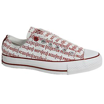 Converse RED All Star Chuck Taylor Slip On Mens Trainers White Red 100690 B26D