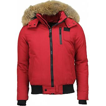 Winter coat Short - ACTION - Real Big Fur Collar - Red