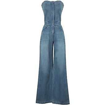 Women Strapless Sleeveless Off Shoulder Full Length Blue Denim Jumpsuit