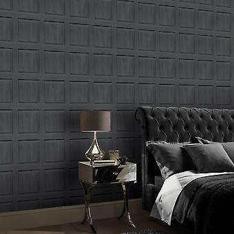 Washed Panel Wallpaper Charcoal Arthouse 909600