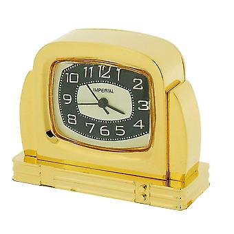 GTP Miniature Unisex Fifties TV Style Gold Plated on Solid Brass Novelty Collectors Mantle Piece Shelf Alarm Clock IMP42